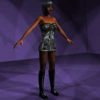 Goth Leather Girl Collection Rigged